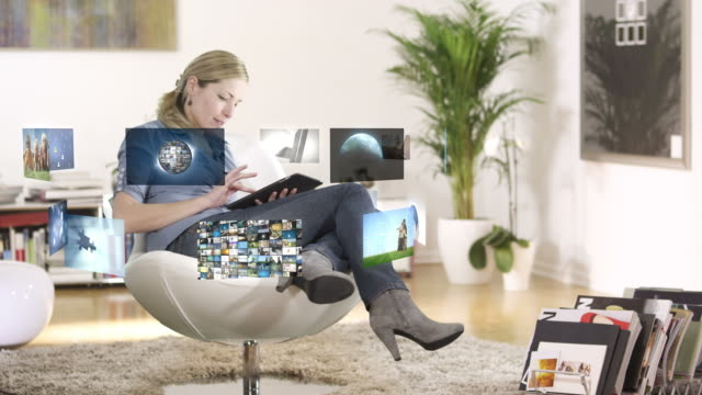 Woman using tablet PC