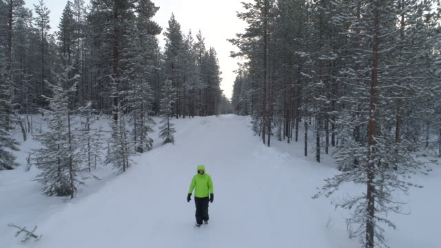 CLOSE UP Woman wading through snow on the road in amazing winter woods, Finland video