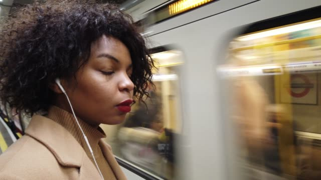 Woman waiting for the subway train