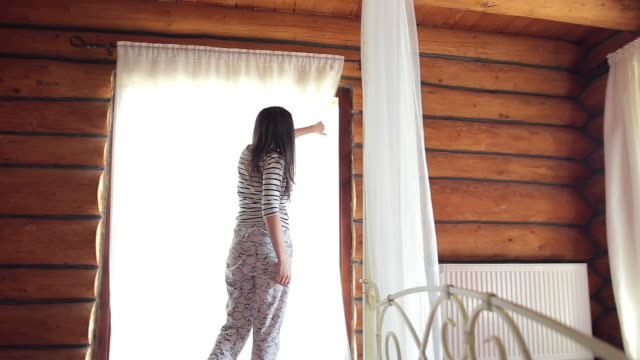 Woman waking up in the morning. video