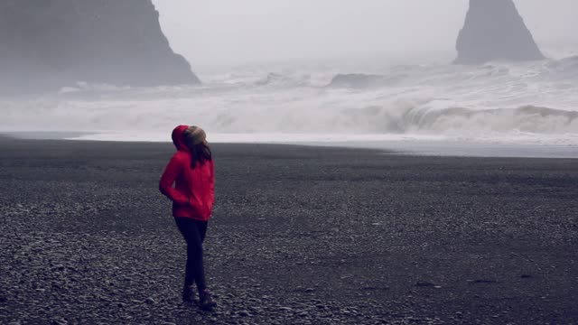 Woman walking along Reynisfjara Beach ,Black Sand Beach, Iceland video