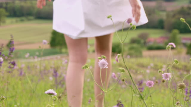 SLO MO R/F Woman walking among spring flowers swaying in the wind video