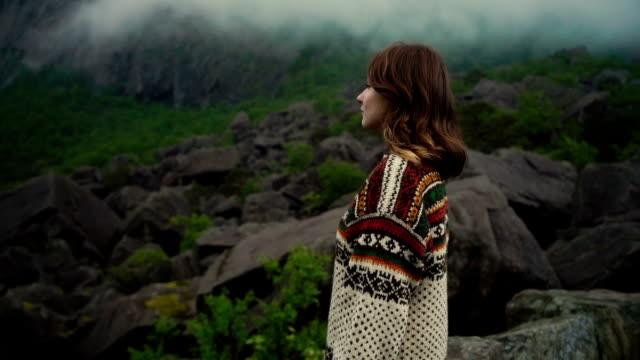 Woman walking in Magma geopark in Norway video