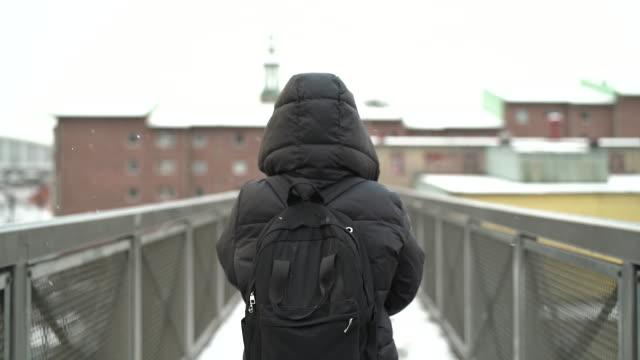 vídeos de stock e filmes b-roll de woman walking in snowy weather - estrada urbana