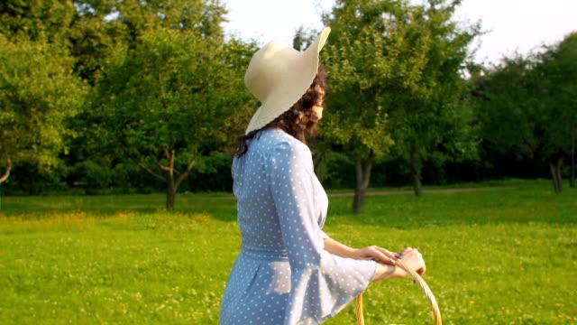 Woman walking in the garden