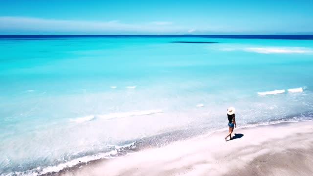 woman walking on the beach - drone view woman walking on the beach - drone view indian ocean islands stock videos & royalty-free footage