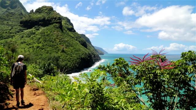 Woman Walking the Kalalau Trail, Napali Coast State Park, Kauai video