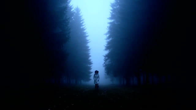Woman walking through the woods video