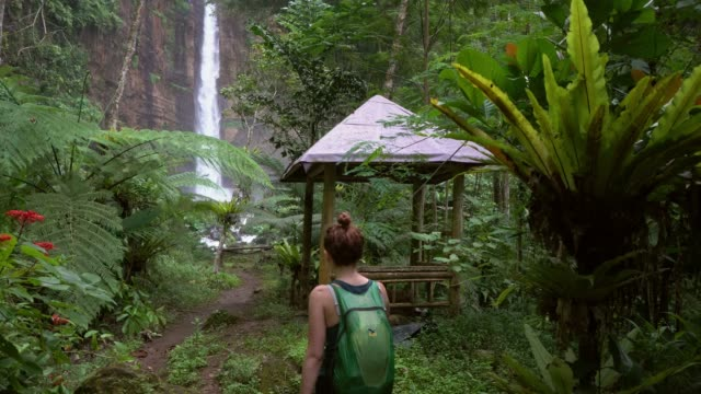 Woman walking to powerful waterfall on Java
