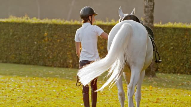 vidéos et rushes de slo missouri femme marchant avec cheval dans le parc de l'école d'équitation - dressage équestre