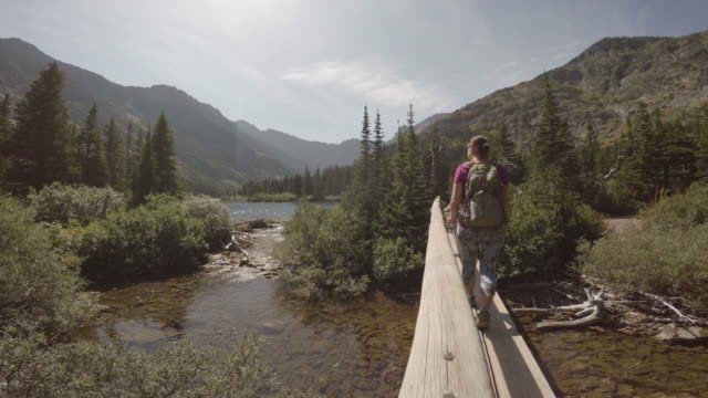 Woman walks along mountain trail in early summer video