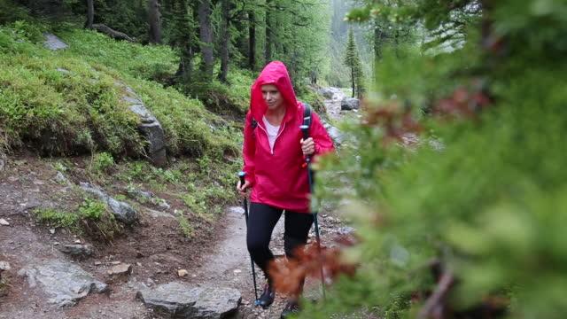 woman walks along mountain trail, in rainstorm - жакет стоковые видео и кадры b-roll