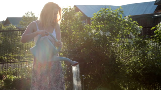 Woman watering sunny garden with watering can