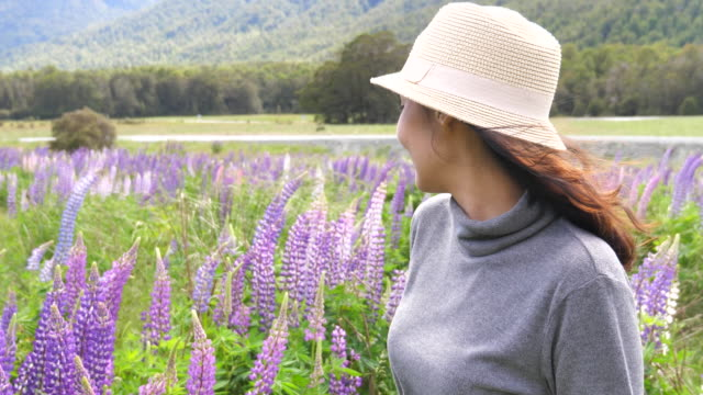 Woman Waved goodbye with Lupine in New Zealand video