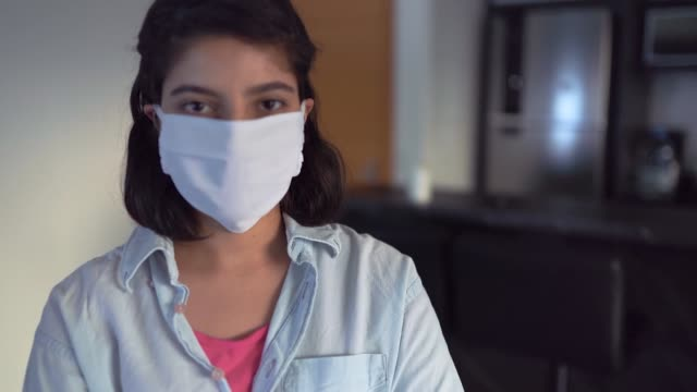 woman wearing a protective mask