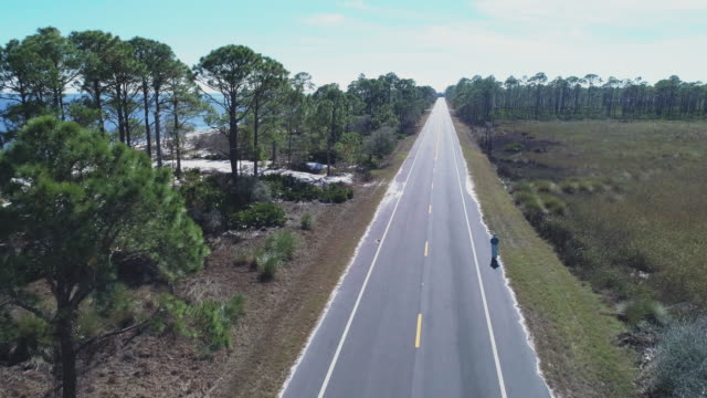 Woman wearing a wide summer dress walking on a highway along white sand dunes and pine forest on the Atlantic coast at Alligator Point, Panacea, North Florida. Aerial drone video with the cinematic forward and ascending camera motion.