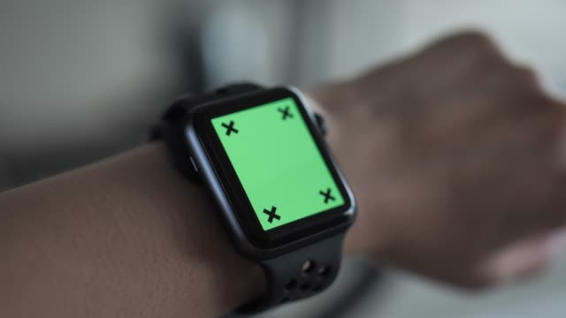 Woman wearing smart watch for exercise, Chroma Key