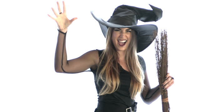 Woman wearing witch costume video