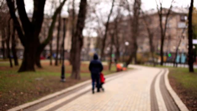 carrello donna con bambino in autunno parco.  vista offuscata - abbigliamento da neonato video stock e b–roll