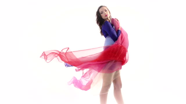 Woman with colored fabric video