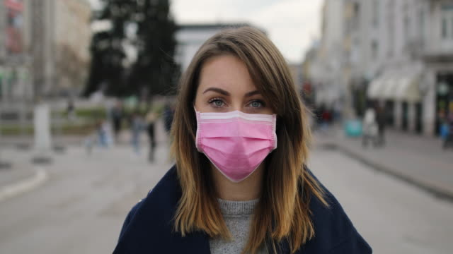Woman with face protective mask video