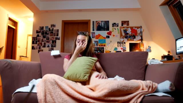 Woman with flu going to sleep video
