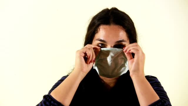 Woman with flu mask (HD) video
