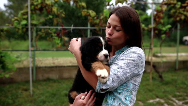 Woman with her lovely puppy