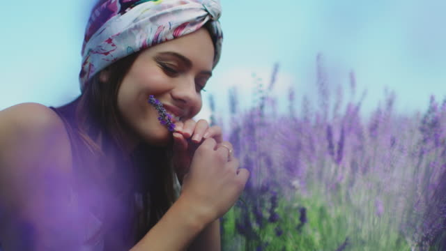 Woman with lavender flowers lying on field Smiling beautiful woman holding lavender flowers. Thoughtful female is lying on agricultural field. She is vacation. lavender plant stock videos & royalty-free footage