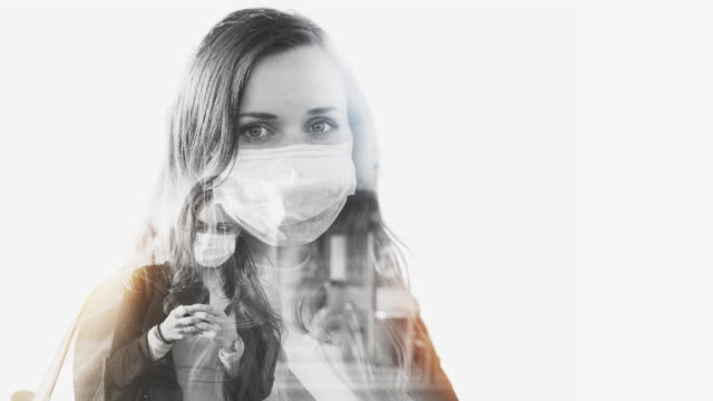 Woman with Protective Face Mask Double Exposure Concept