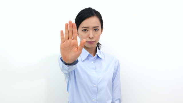 woman with stop gesture video