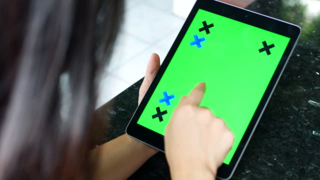 Woman with Tablet  Chroma Key video