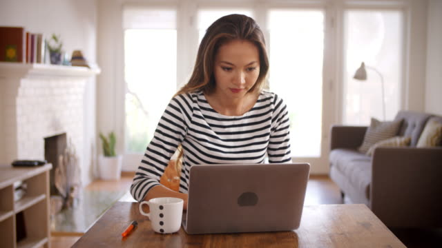 Woman Working From Home Using Laptop On Dining Table video