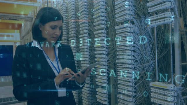Woman working in server room with moving data security messages Animation of a Caucasian woman seen from the waist up checking the equipment in a server room using a tablet computer and smiling to camera, while glowing digital text about computer security flashes and moves in the foreground mainframe stock videos & royalty-free footage