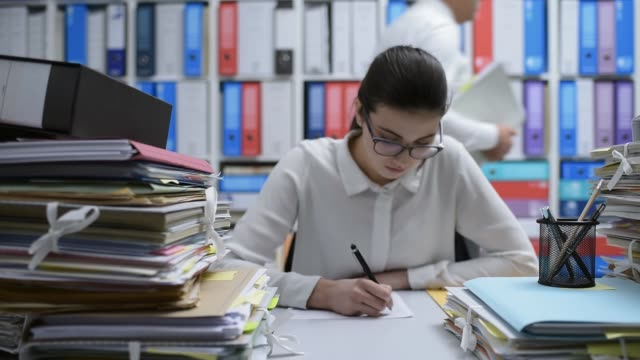 Woman working in the office video