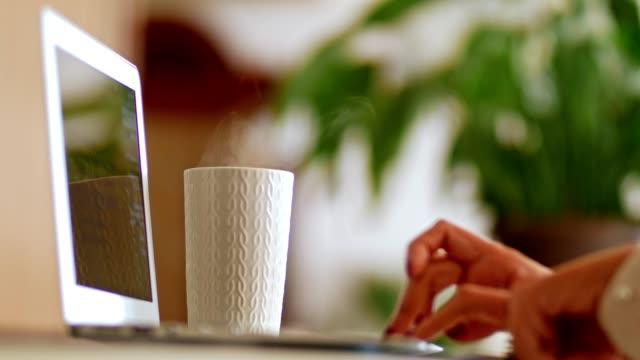 vidéos et rushes de femme travaillant sur l'ordinateur portatif et appréciant le parfum du café - thé boisson chaude