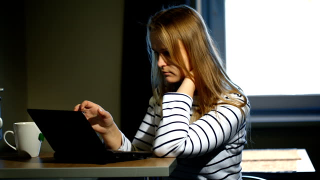 Woman working with laptop at home video