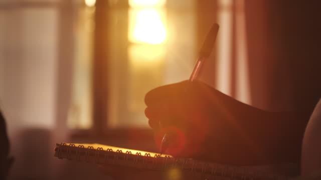 vídeos de stock, filmes e b-roll de escrita da mulher em seu diário no por do sol - escrever