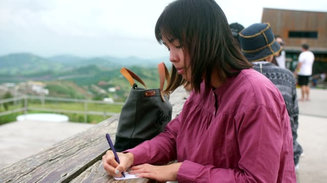 woman writing on a notepad using a pen - 30 34 anni video stock e b–roll