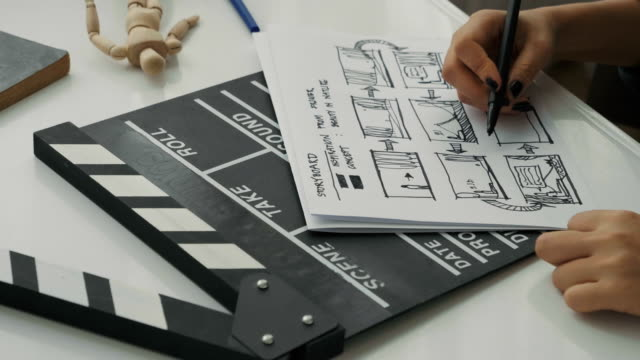 vídeos de stock, filmes e b-roll de diretor da mulher mão enquanto esboçar e brainstorming para fazer o storyboard de seu trabalho criativo do processo de filme de diretor de fabricante de filme - temas fotográficos