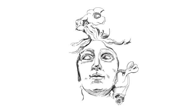 woman's face with olive branches and flowers - heykel stok videoları ve detay görüntü çekimi