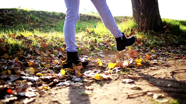 Womans feet walking through dried leaves video