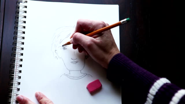 Woman's Hands Sketching Cartoon Person video