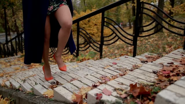 Woman's legs in high heels stepping up the stairs video