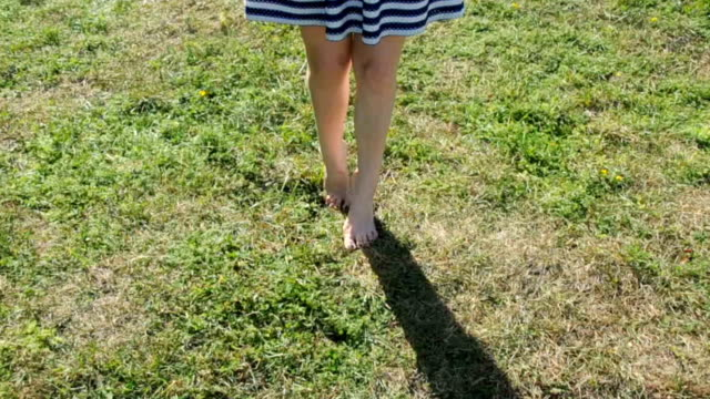 Woman's legs walking in the grass video