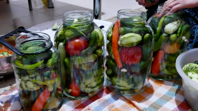 vídeos de stock e filmes b-roll de women are making pickles. make pickles, melons, peppers, garlic pickles. - jam jar