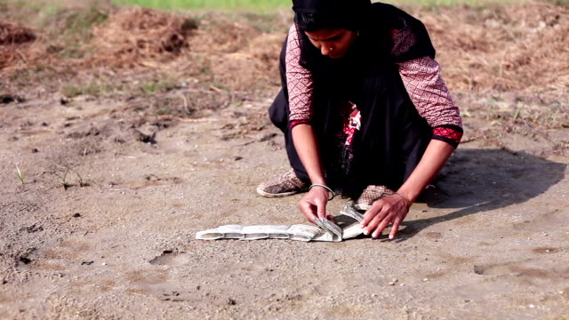 Women arranging money note on ground HD1080p: Rural women of Indian ethnicity arranging money note on the ground in nature. haryana stock videos & royalty-free footage