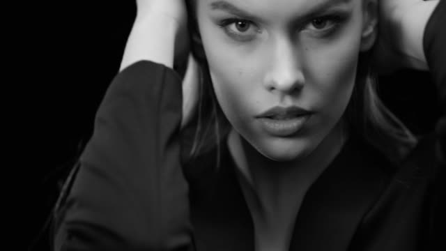 Women, Beauty, Fashion Model, Human Face. Black & White fashion video.