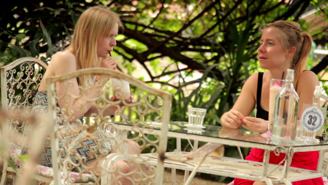Women Chatting over Coffee. Cafe Scene. Outdoors. video