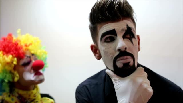 Women clown in action. video
